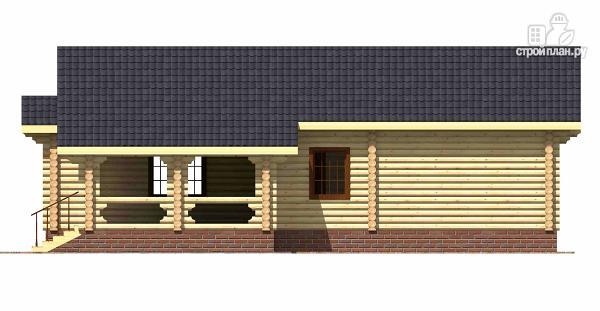 Фото 3: проект одноэтажный бревенчатый дом с большой террасой и тремя спальнями