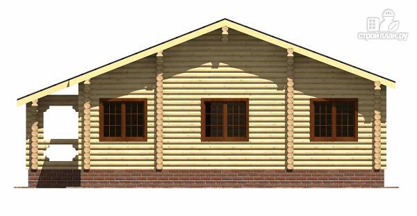 Фото 4: проект одноэтажный бревенчатый дом с большой террасой и тремя спальнями