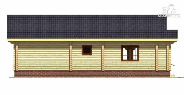 Фото 5: проект одноэтажный бревенчатый дом с большой террасой и тремя спальнями