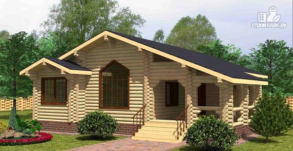 Фото: проект одноэтажный бревенчатый дом с большой террасой и тремя спальнями