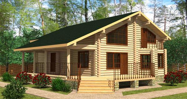 Фото: проект дом из цилиндрического бревна с террасой и холлом «второй свет»