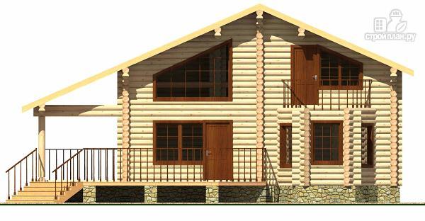 Фото 2: проект дом из цилиндрического бревна с террасой и холлом «второй свет»
