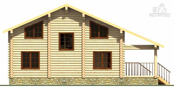 Фото 4: проект дом из цилиндрического бревна с террасой и холлом «второй свет»