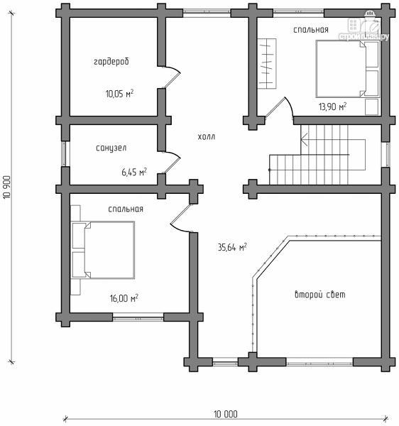 Фото 7: проект бревенчатый дом на три спальни с котельной и холлом «второй свет»
