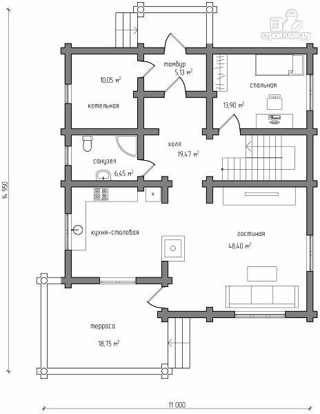 Фото 6: проект бревенчатый дом на три спальни с котельной и холлом «второй свет»