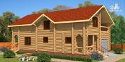 Проект деревянный дом с гаражом и двумя террасами