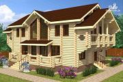 Фото: дом из цилиндрического бревна с террасой и холлом «второй свет»