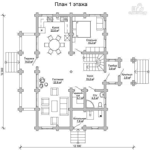 Фото 6: проект дом из цилиндрического бревна с террасой и холлом «второй свет»