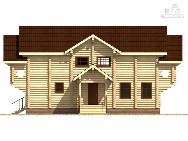 Фото 3: проект дом из цилиндрического бревна с террасой и холлом «второй свет»