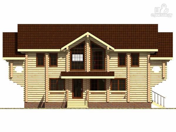 Фото 5: проект дом из цилиндрического бревна с террасой и холлом «второй свет»
