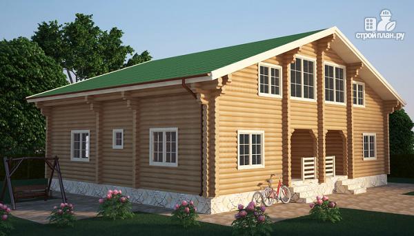 Фото: проект бревенчатый двухэтажный дом с симметричной планировкой