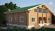 Фото: бревенчатый двухэтажный дом с симметричной планировкой