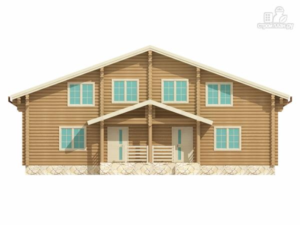 Фото 3: проект бревенчатый двухэтажный дом с симметричной планировкой
