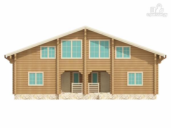 Фото 2: проект бревенчатый двухэтажный дом с симметричной планировкой