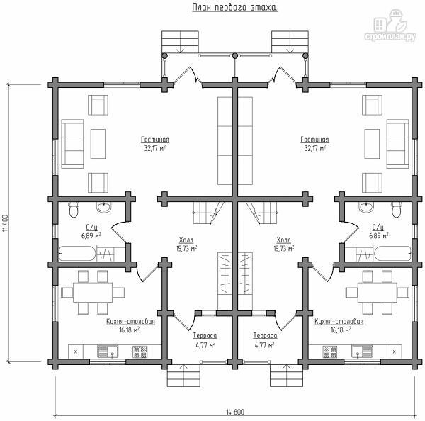 Фото 6: проект бревенчатый двухэтажный дом с симметричной планировкой