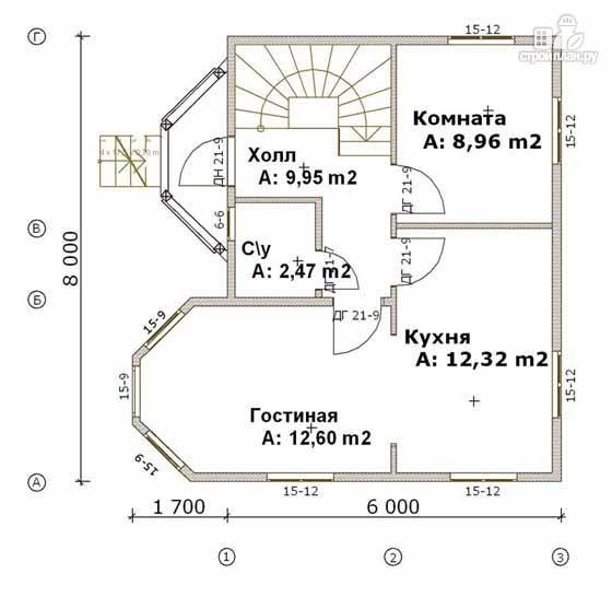 Фото 2: проект дом из бруса 6х8 с эркером