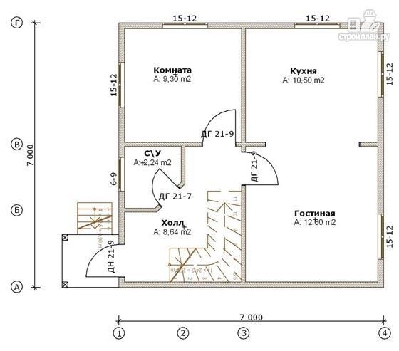 Фото 2: проект дом из бруса 7х7 с мансардой