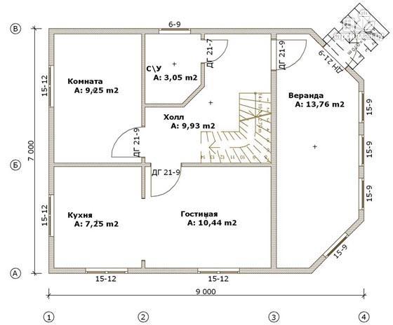 Фото 2: проект дом деревянный 7х9 с верандой