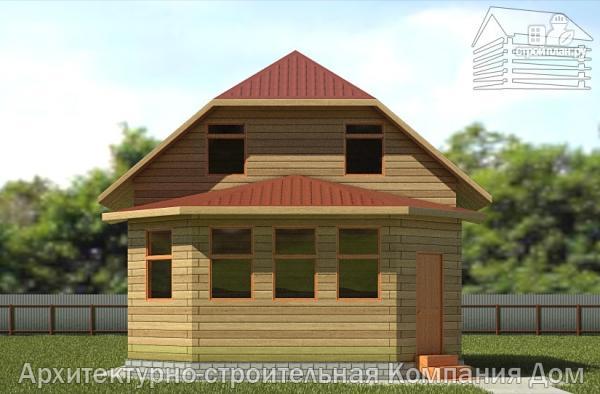 Фото 4: проект дом деревянный 7х9 с верандой
