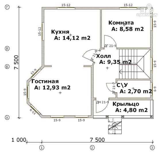 Фото 2: проект дом из бруса 7,5х7,5 с балконом и крыльцом