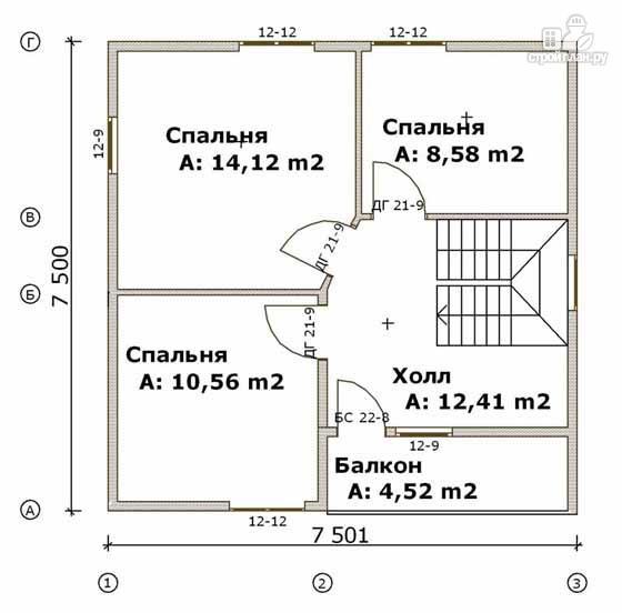 Фото 3: проект дом из бруса 7,5х7,5 с балконом и крыльцом