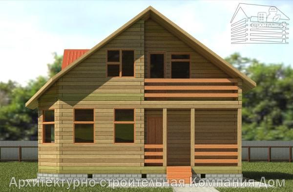 Фото 4: проект дом из бруса 7,5х7,5 с балконом и крыльцом
