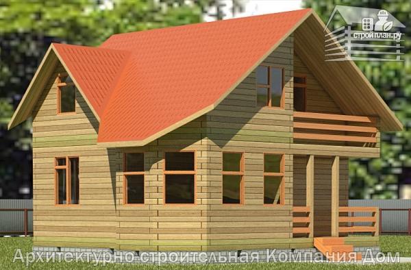 Фото: проект дом из бруса 7,5х7,5 с балконом и крыльцом