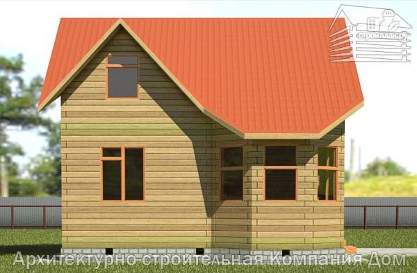 Фото 7: проект дом из бруса 7,5х7,5 с балконом и крыльцом