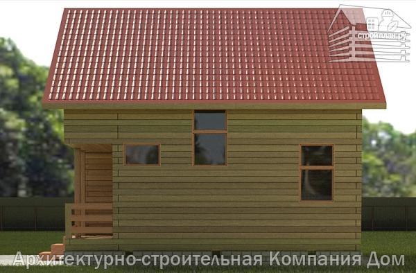 Фото 5: проект дом из бруса 7,5х7,5 с балконом и крыльцом