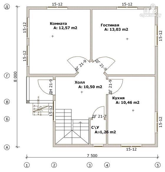 Проект 7 5 х 8 0 а дом из бруса 7 5х8 с