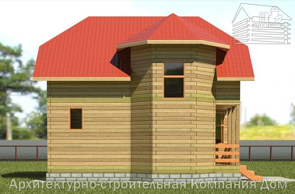 Фото 7: проект деревянный дом 6,5х8 с эркером и крыльцом