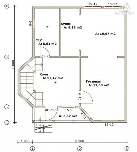 Фото 2: проект деревянный дом 6,5х8 с эркером и крыльцом