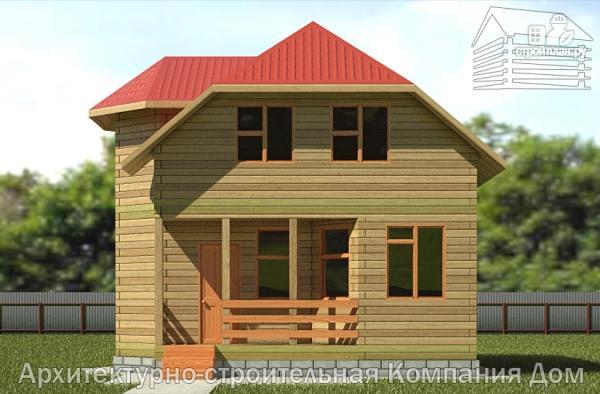 Фото 4: проект деревянный дом 6,5х8 с эркером и крыльцом