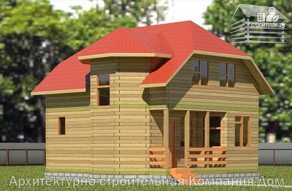 Фото: проект деревянный дом 6,5х8 с эркером и крыльцом