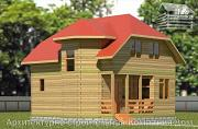 Фото: деревянный дом 6,5х8 с эркером и крыльцом