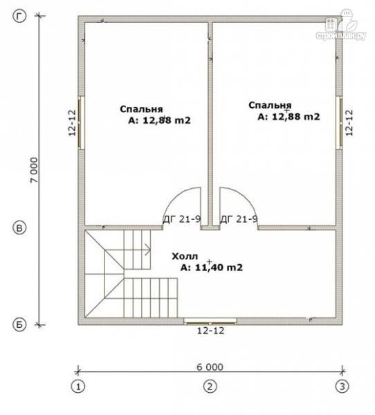 Фото 3: проект дом из бруса 6х7 с террасой
