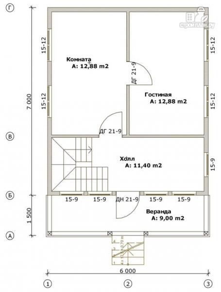 Фото 2: проект дом из бруса 6х7 с террасой