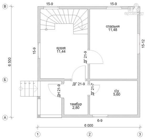 Фото 2: проект деревянный дом 6х6,5 с мансардой и крыльцом