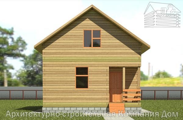 Фото 7: проект деревянный дом 6х6,5 с мансардой и крыльцом