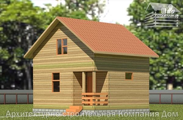 Фото: проект деревянный дом 6х6,5 с мансардой и крыльцом