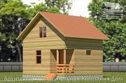 Проект деревянный дом 6х6,5 с мансардой и крыльцом
