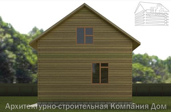 Фото 5: проект деревянный дом 6х6,5 с мансардой и крыльцом