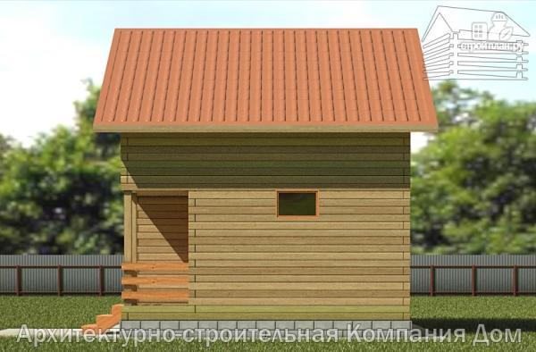 Фото 4: проект деревянный дом 6х6,5 с мансардой и крыльцом