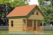 Проект дачный дом 6х6 из бруса с террасой