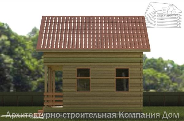 Фото 5: проект дачный дом 6х6 из бруса с террасой