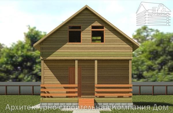 Фото 4: проект дачный дом 6х6 из бруса с террасой