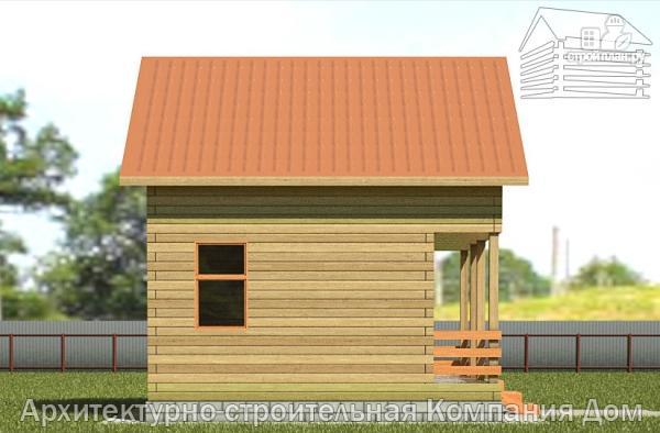 Фото 7: проект дачный дом 6х6 из бруса с террасой