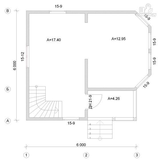Фото 2: проект деревянный дом 6х6 с балконом и крыльцом