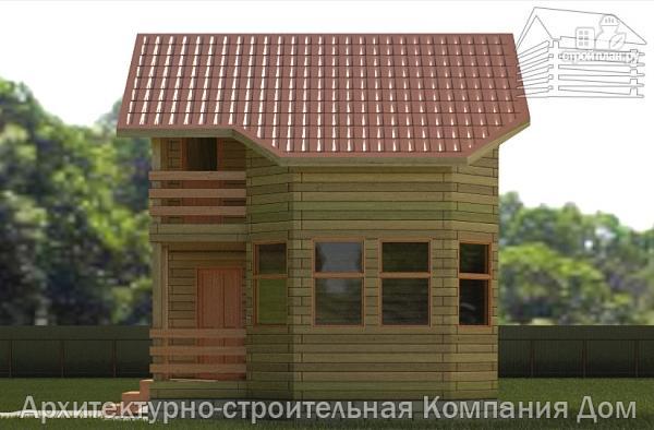 Фото 5: проект деревянный дом 6х6 с балконом и крыльцом