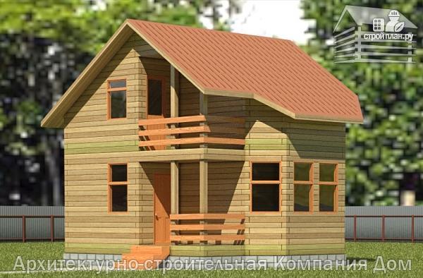 Фото: проект деревянный дом 6х6 с балконом и крыльцом